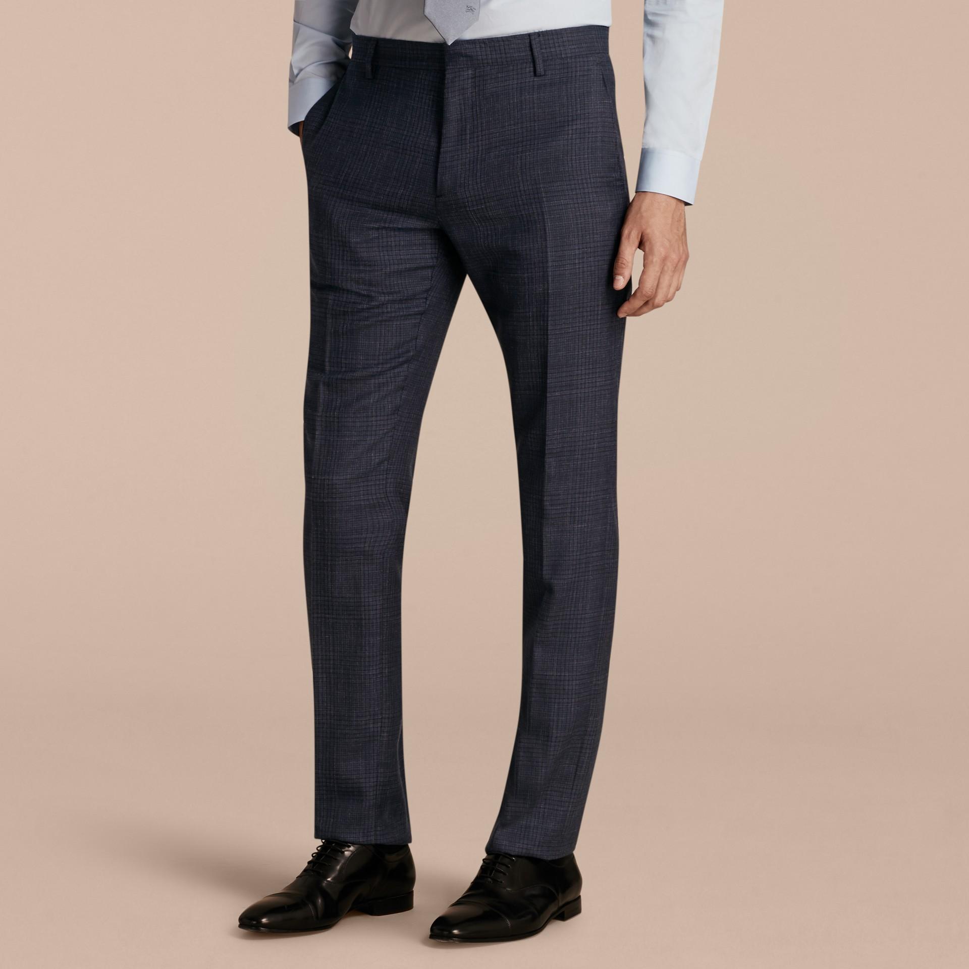 Modern Fit Wool Silk Blend Half-canvas Suit - gallery image 9