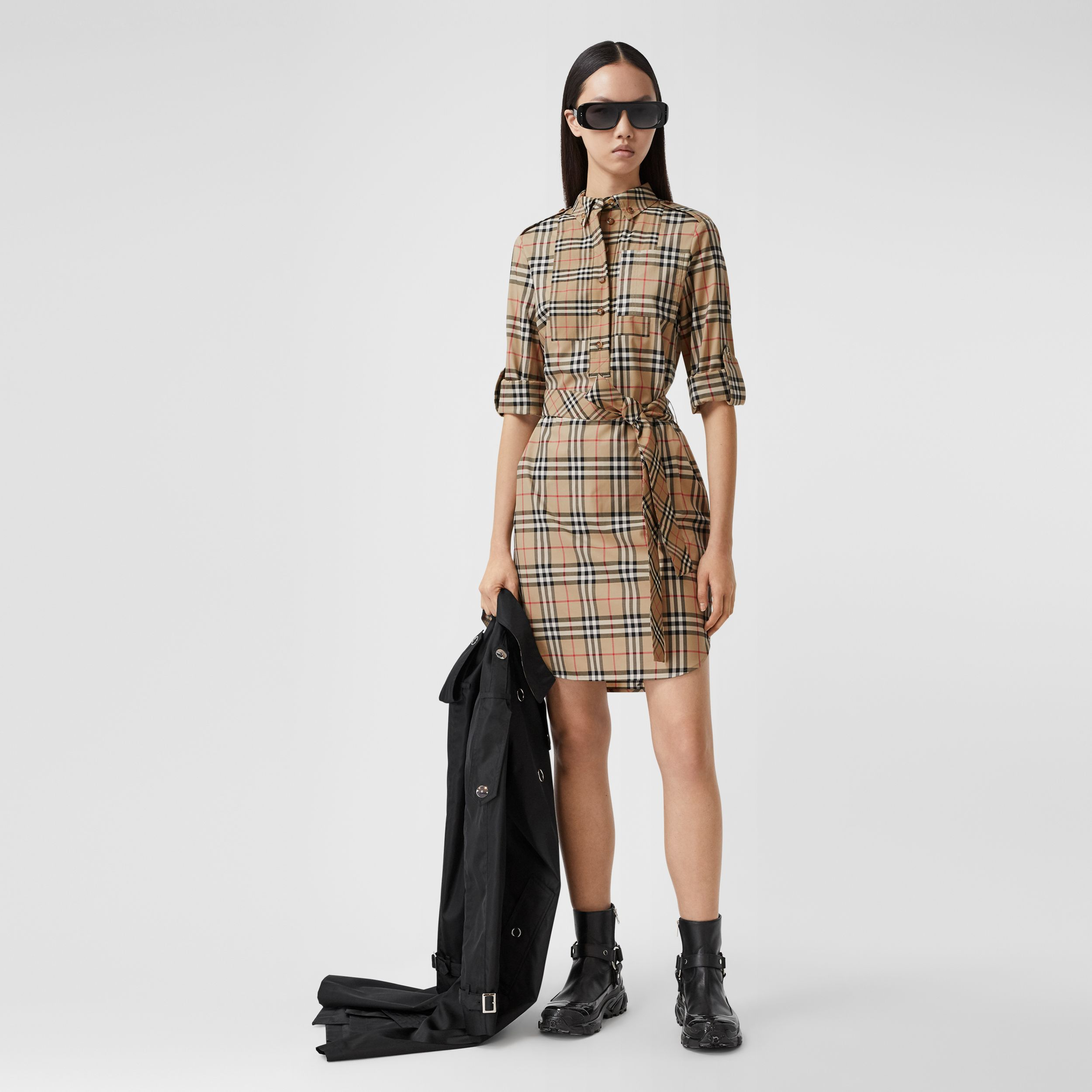 Contrast Check Stretch Cotton Tie-waist Shirt Dress in Archive Beige - Women | Burberry United Kingdom - 1