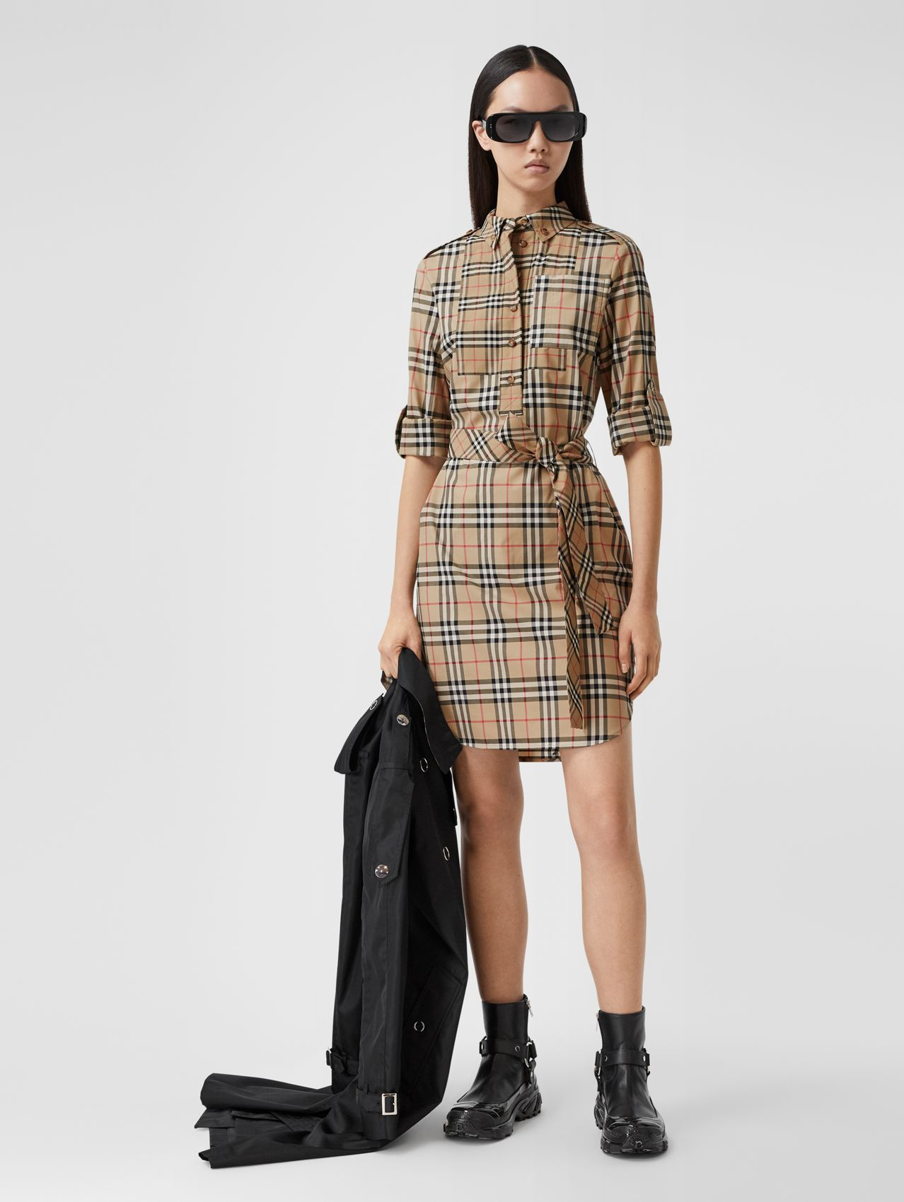 Contrast Check Stretch Cotton Tie-waist Shirt Dress in Archive Beige