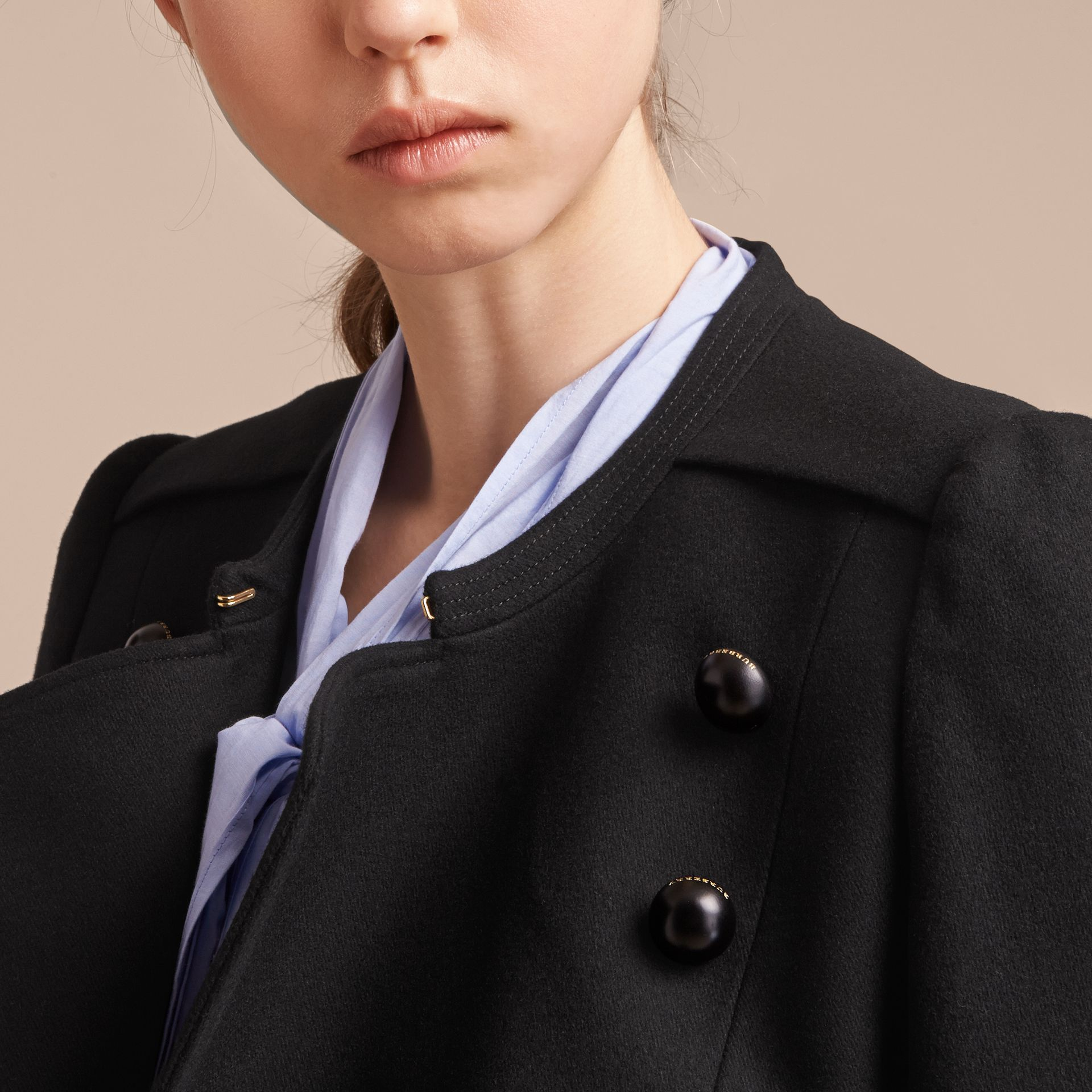 Wool Blend Double-breasted Jacket in Black - Women | Burberry - gallery image 5