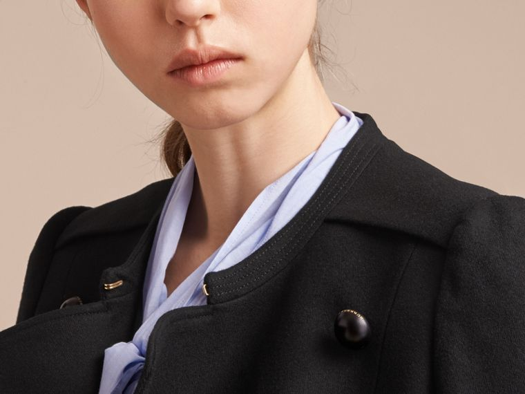 Wool Blend Double-breasted Jacket in Black - Women | Burberry United Kingdom - cell image 4