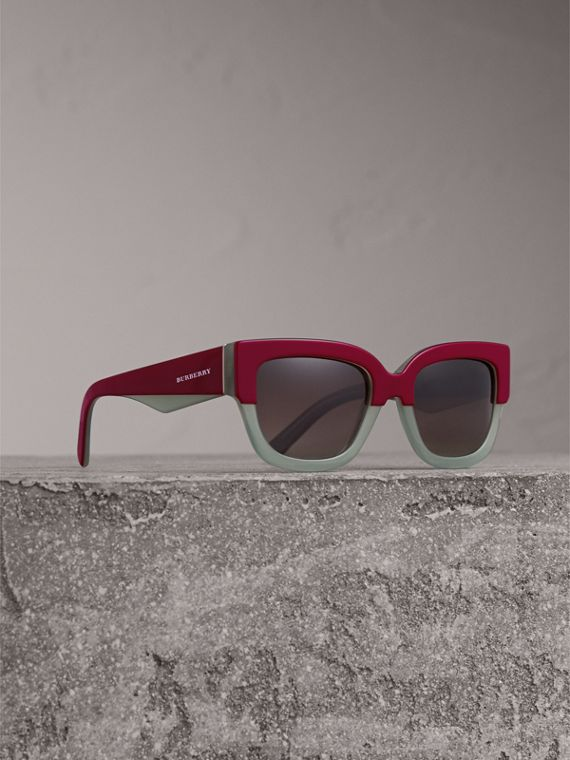 Square Frame Sunglasses in Burgundy - Women | Burberry