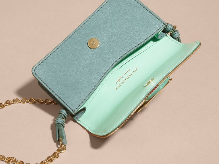 Menta chiaro Borsa The Buckle mini con pelle di serpente e motivo House check - cell image 4