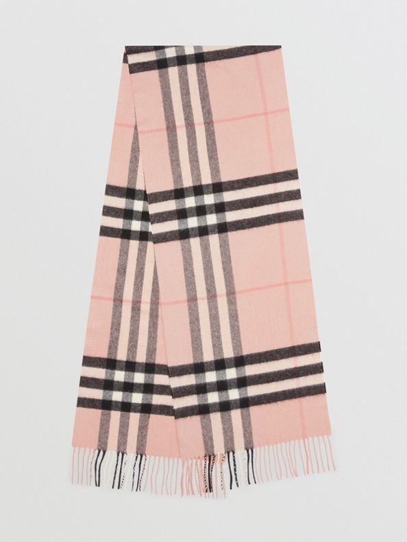The Classic Check Cashmere Scarf in Ash Rose
