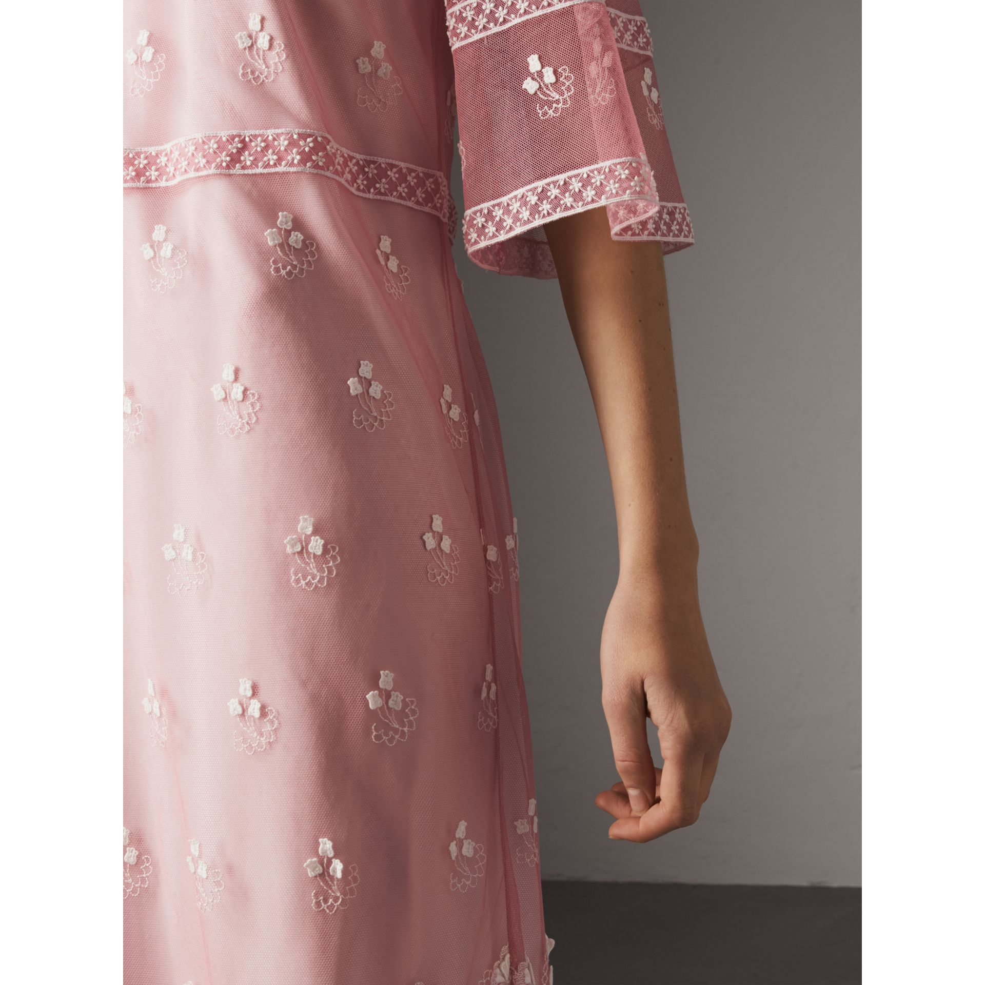 Flare-sleeve Embroidered Tulle Dress in Rose Pink/white - Women | Burberry United Kingdom - gallery image 1