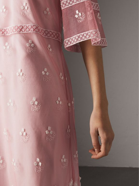 Flare-sleeve Embroidered Tulle Dress in Rose Pink/white - Women | Burberry United Kingdom - cell image 1