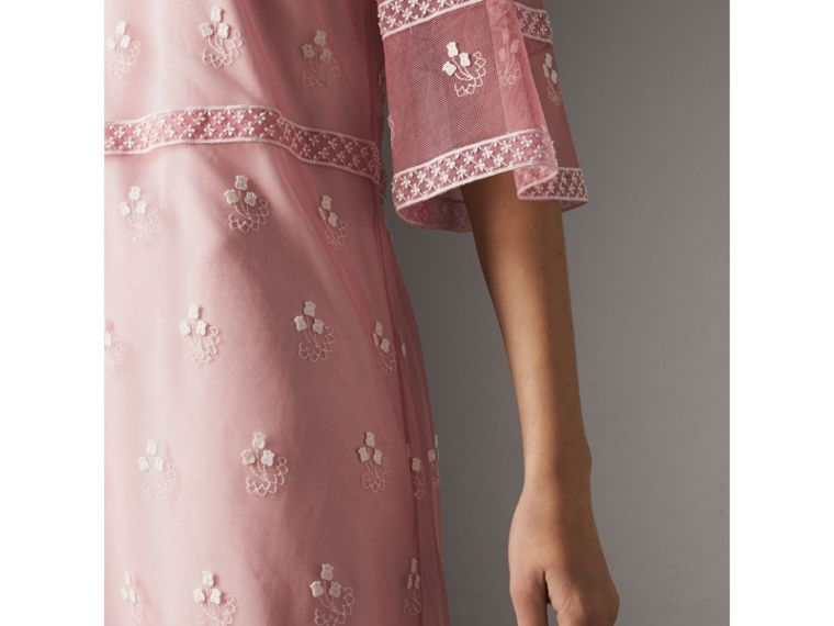 Flare-sleeve Embroidered Tulle Dress in Rose Pink/white - Women | Burberry - cell image 1