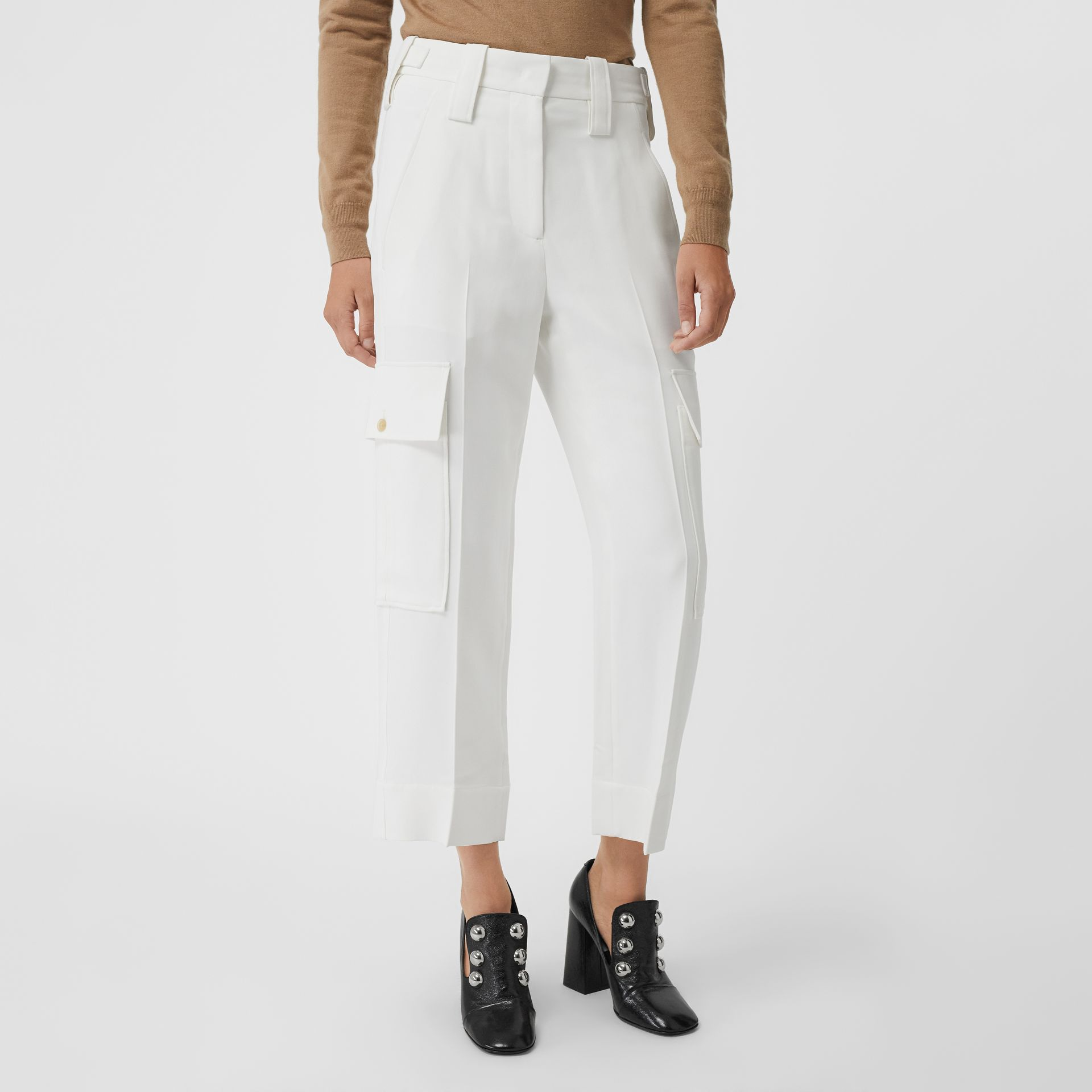 Straight Fit Silk Wool Cargo Trousers in Natural White - Women | Burberry - gallery image 4