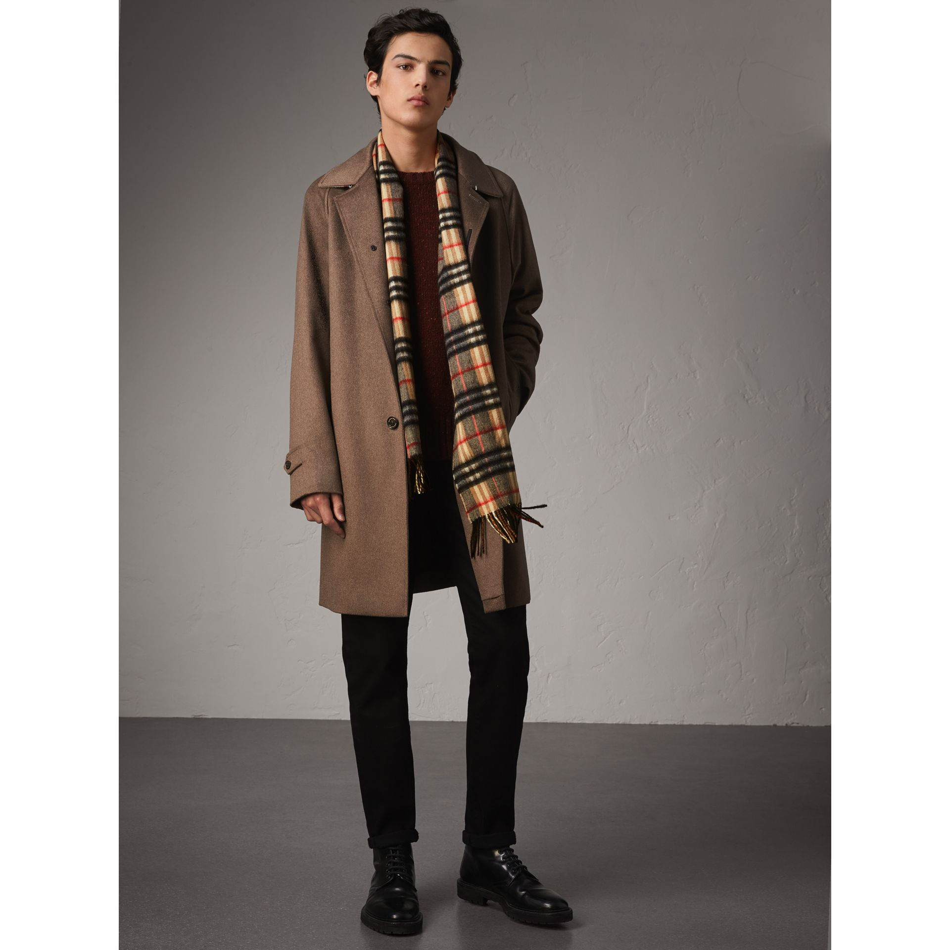 Check Cashmere Scarf in Camel | Burberry United Kingdom - gallery image 3