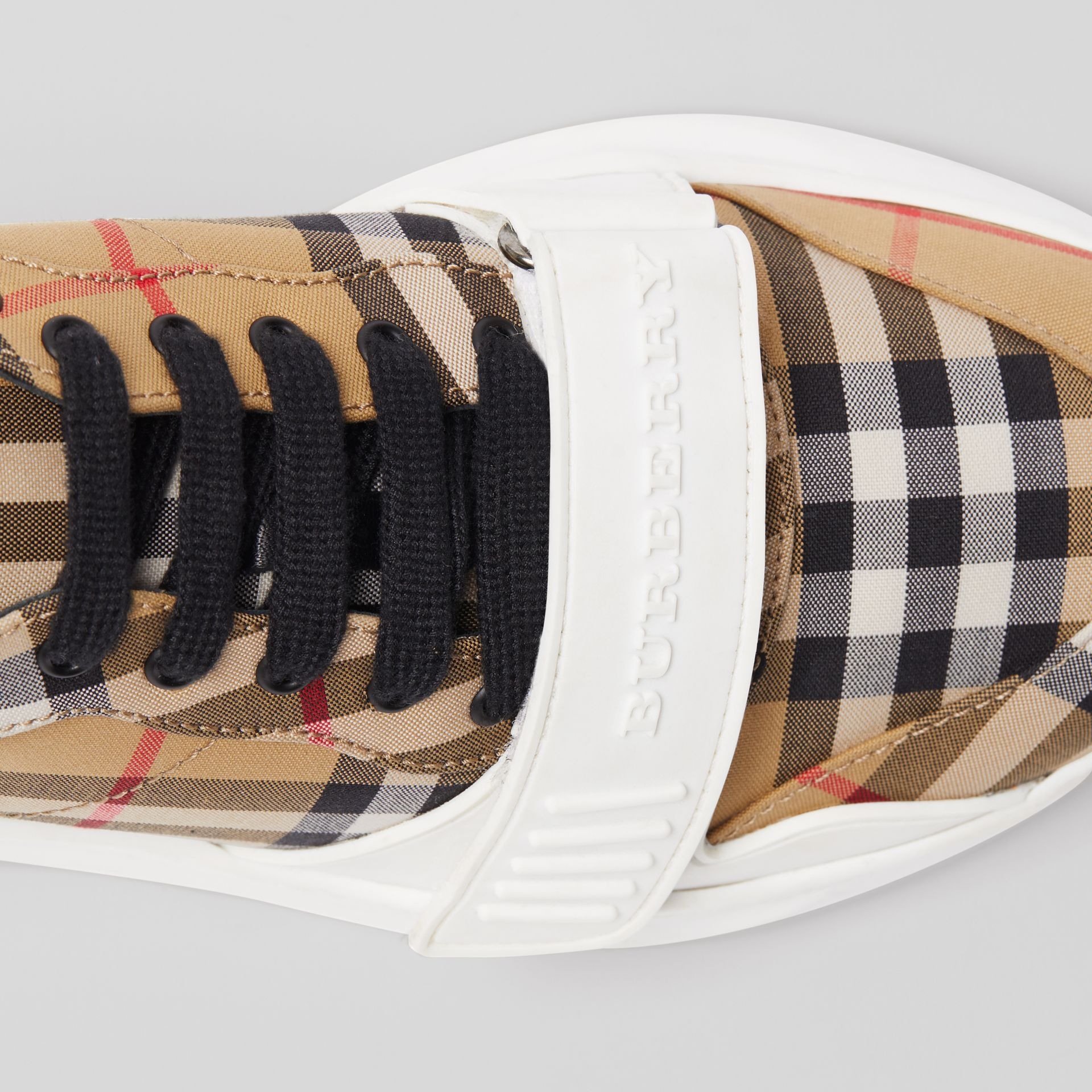 Vintage Check Cotton Sneakers in Antique Yellow - Women | Burberry Hong Kong - gallery image 1