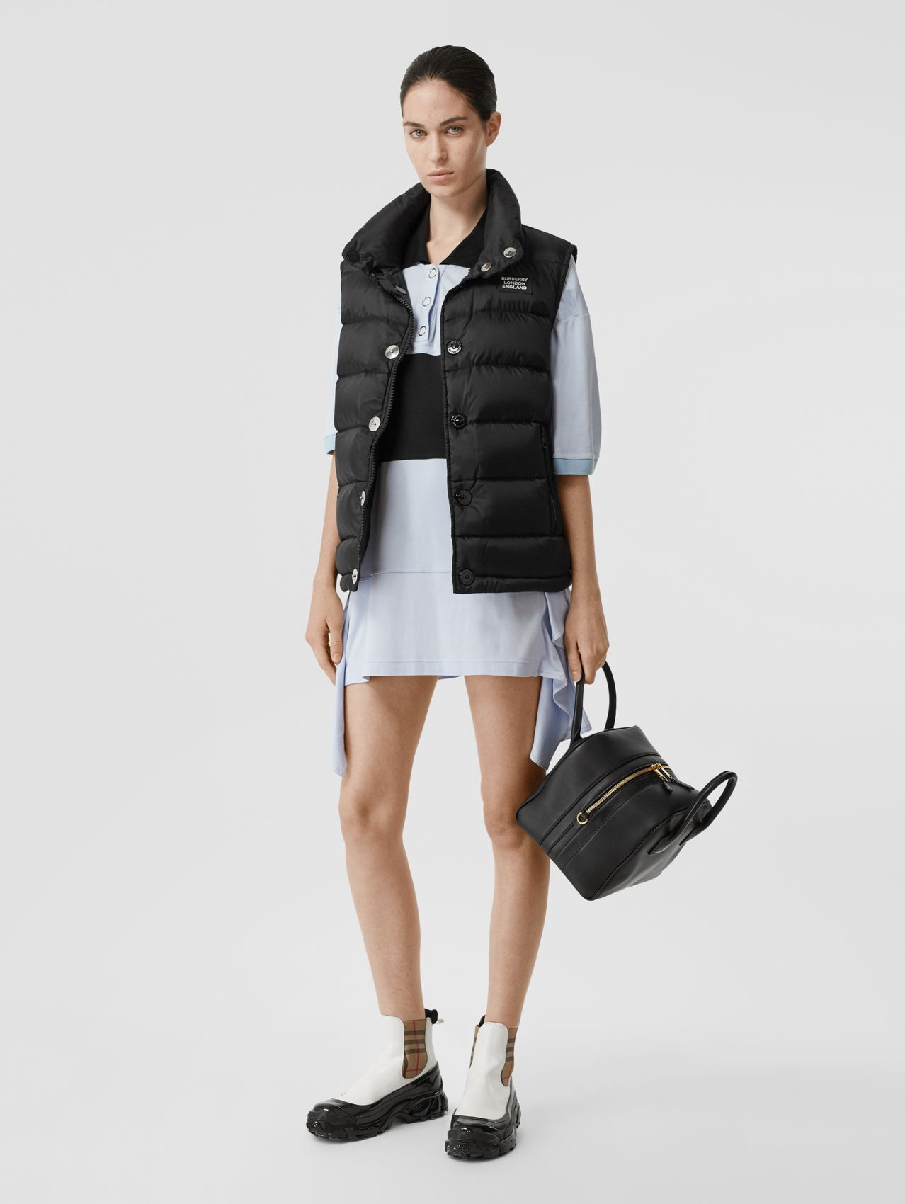 Monogram Stripe Print Puffer Gilet in Black