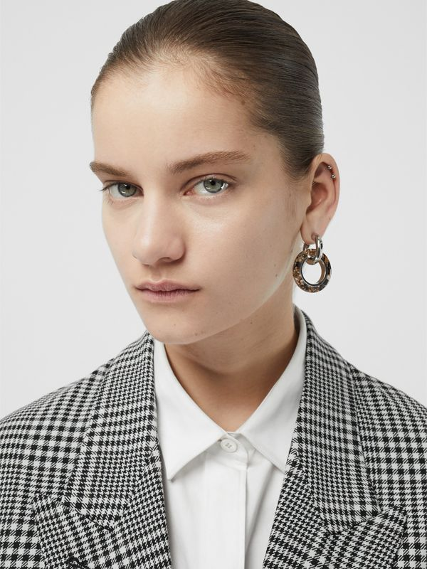 Marbled Resin Detail Double Grommet Earrings in Palladio/caramel - Women | Burberry Australia - cell image 2
