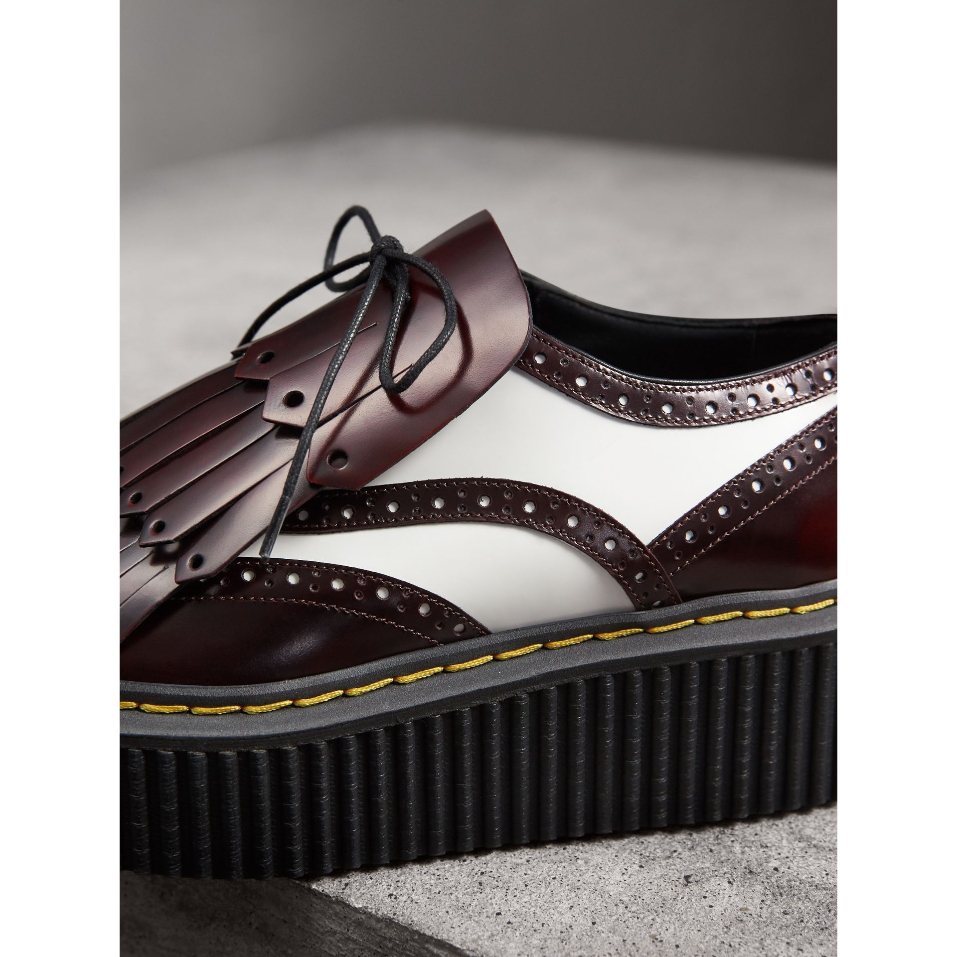 Two-tone Lace-up Kiltie Fringe Leather Shoes in Bordeaux - Women | Burberry - gallery image 2