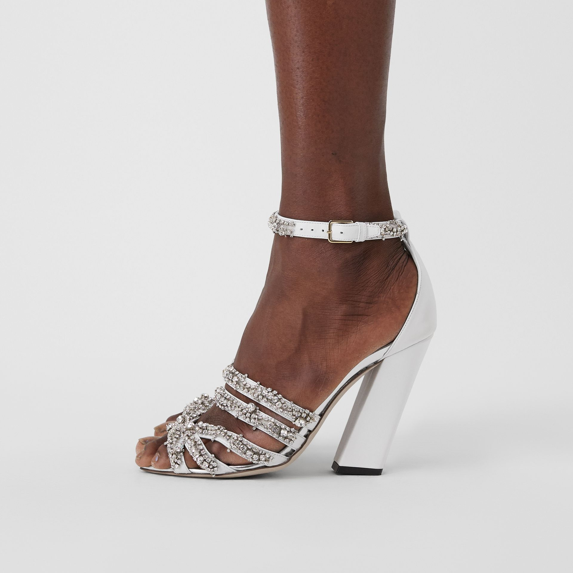 Embellished Split-toe Detail Leather Sandals in Optic White - Women | Burberry United Kingdom - gallery image 2