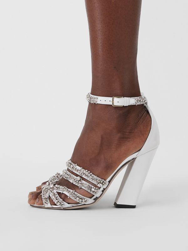 Embellished Split-toe Detail Leather Sandals in Optic White - Women | Burberry United Kingdom - cell image 2