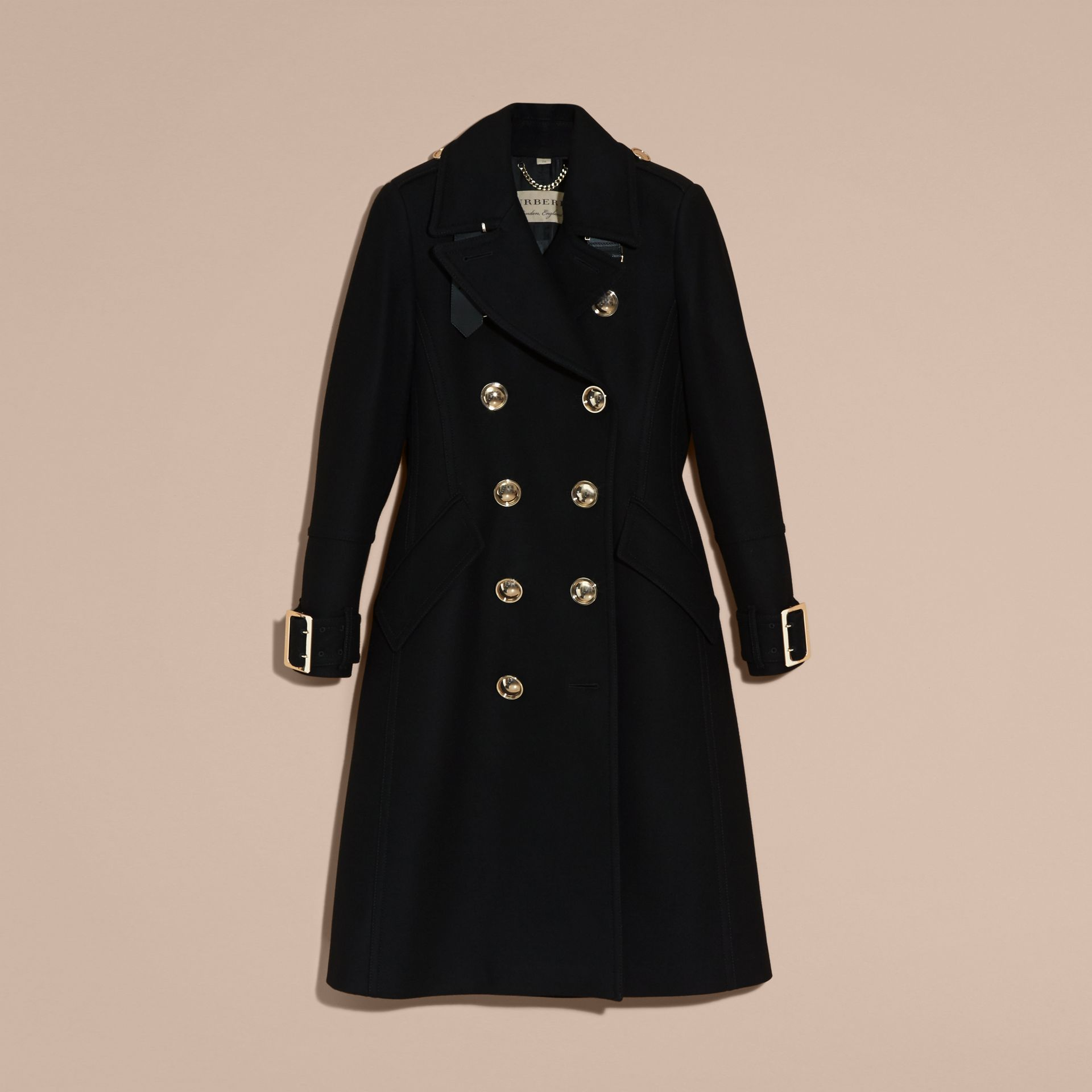 Black Wool Cashmere Blend Military Coat - gallery image 4