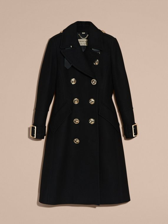 Black Wool Cashmere Blend Military Coat - cell image 3