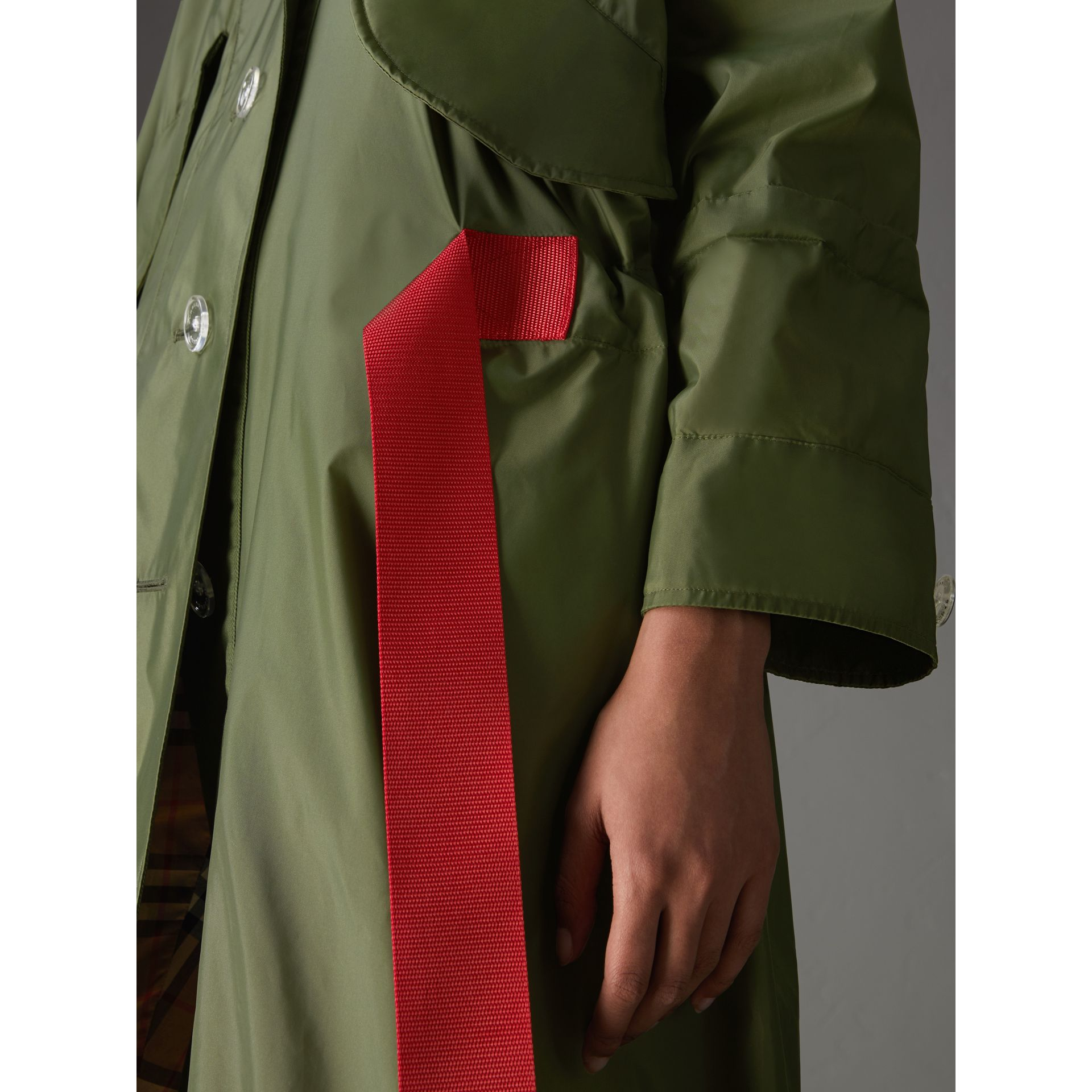 Tape Detail Showerproof Hooded Parka in Light Olive - Women | Burberry United States - gallery image 1