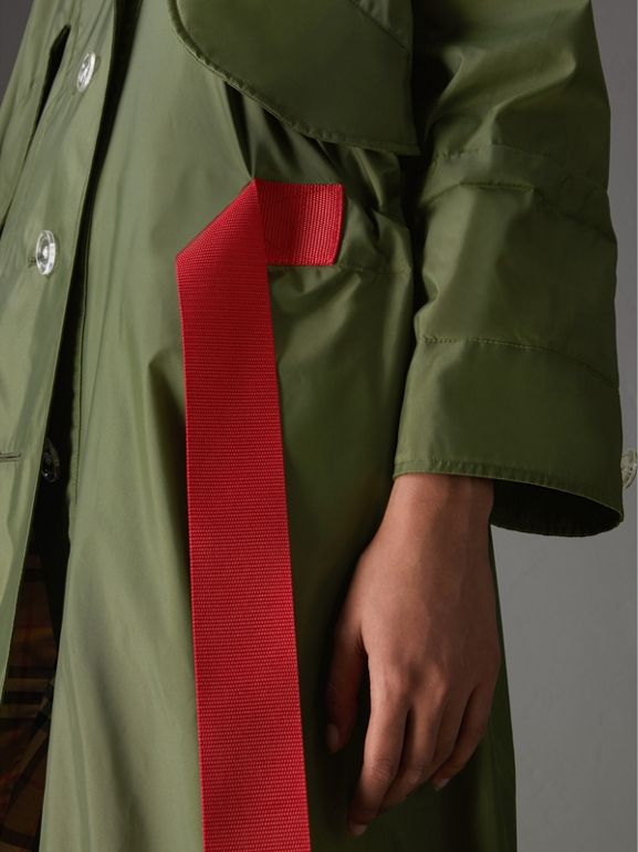 Tape Detail Showerproof Hooded Parka in Light Olive - Women | Burberry Canada - cell image 1