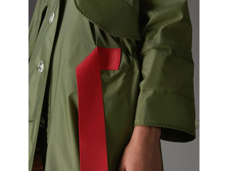 Tape Detail Showerproof Hooded Parka in Light Olive - Women | Burberry - cell image 1