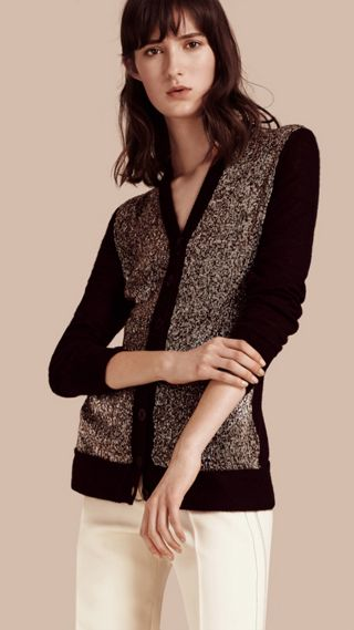 Mohair Blend Cardigan with Metallic Beadwork