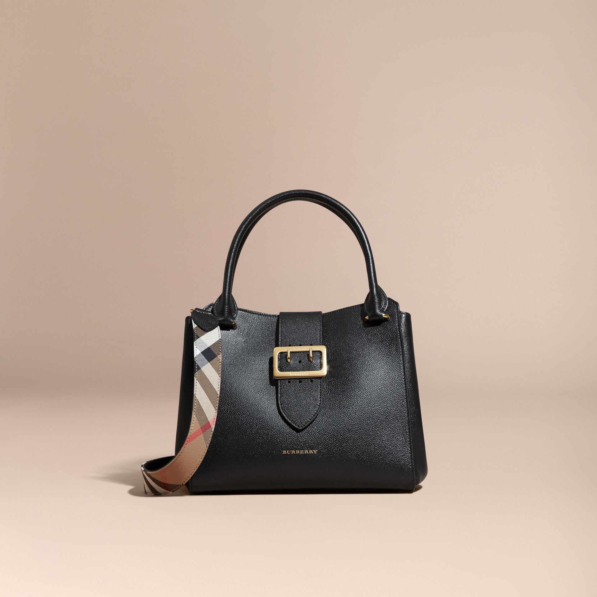 Black The Medium Buckle Tote in Grainy Leather Black - gallery image 9