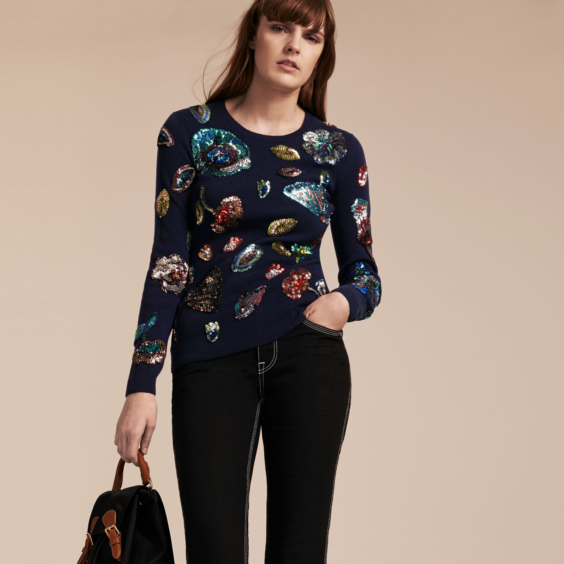 Navy Cashmere Sweater with Hand-embroidered Sequin Flowers - gallery image 6