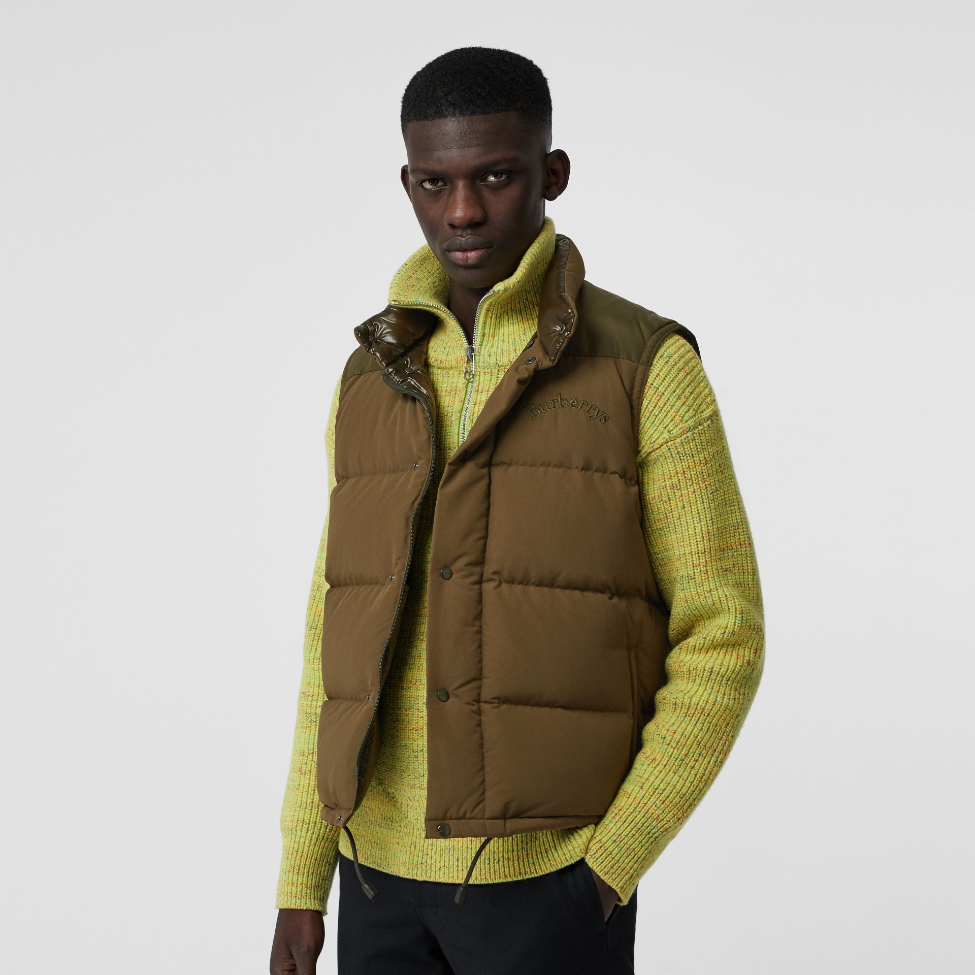 Embroidered Archive Logo Down-filled Gilet in Olive - Men | Burberry United Kingdom - gallery image 4