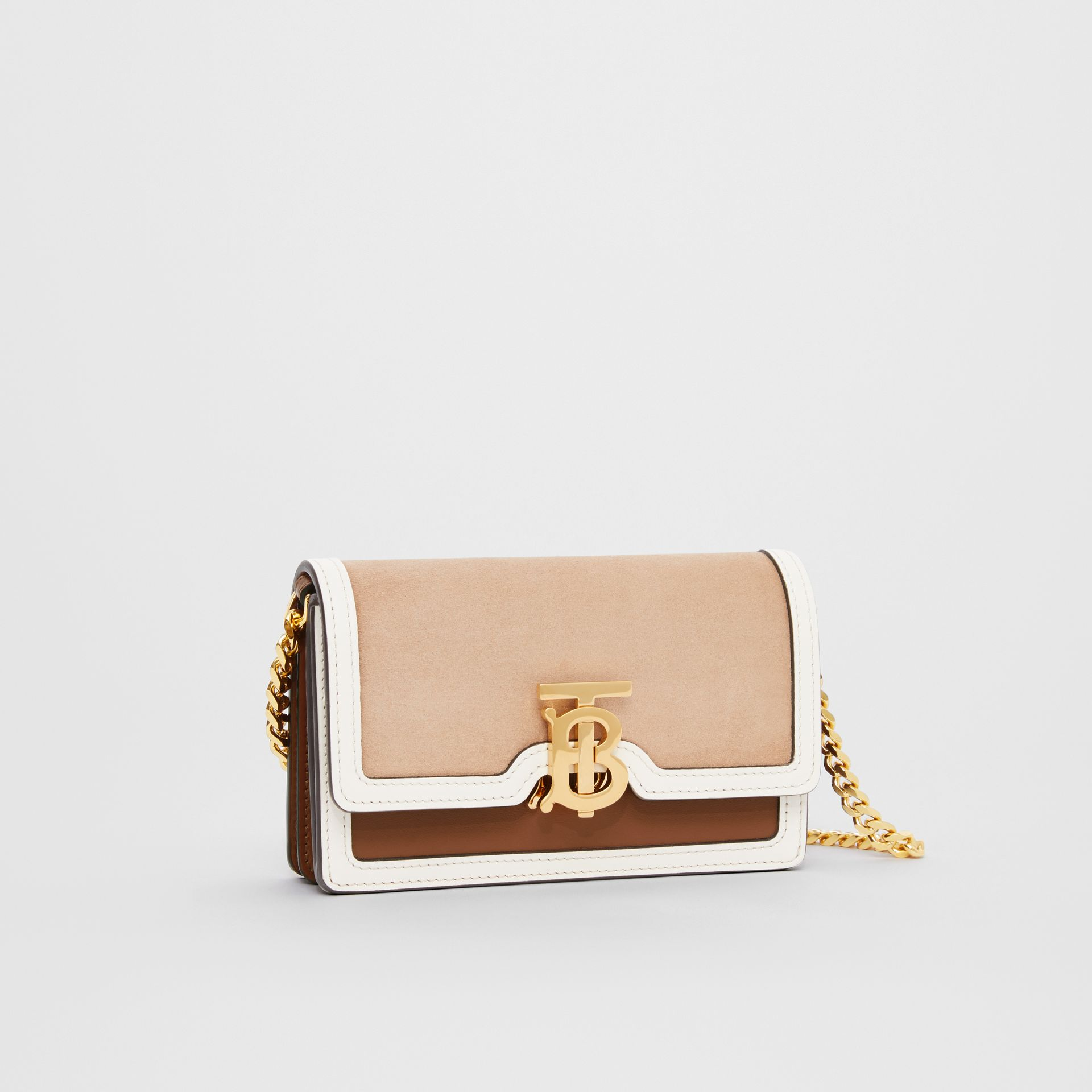 Mini Suede and Two-tone Leather Shoulder Bag in Biscuit - Women | Burberry - gallery image 4