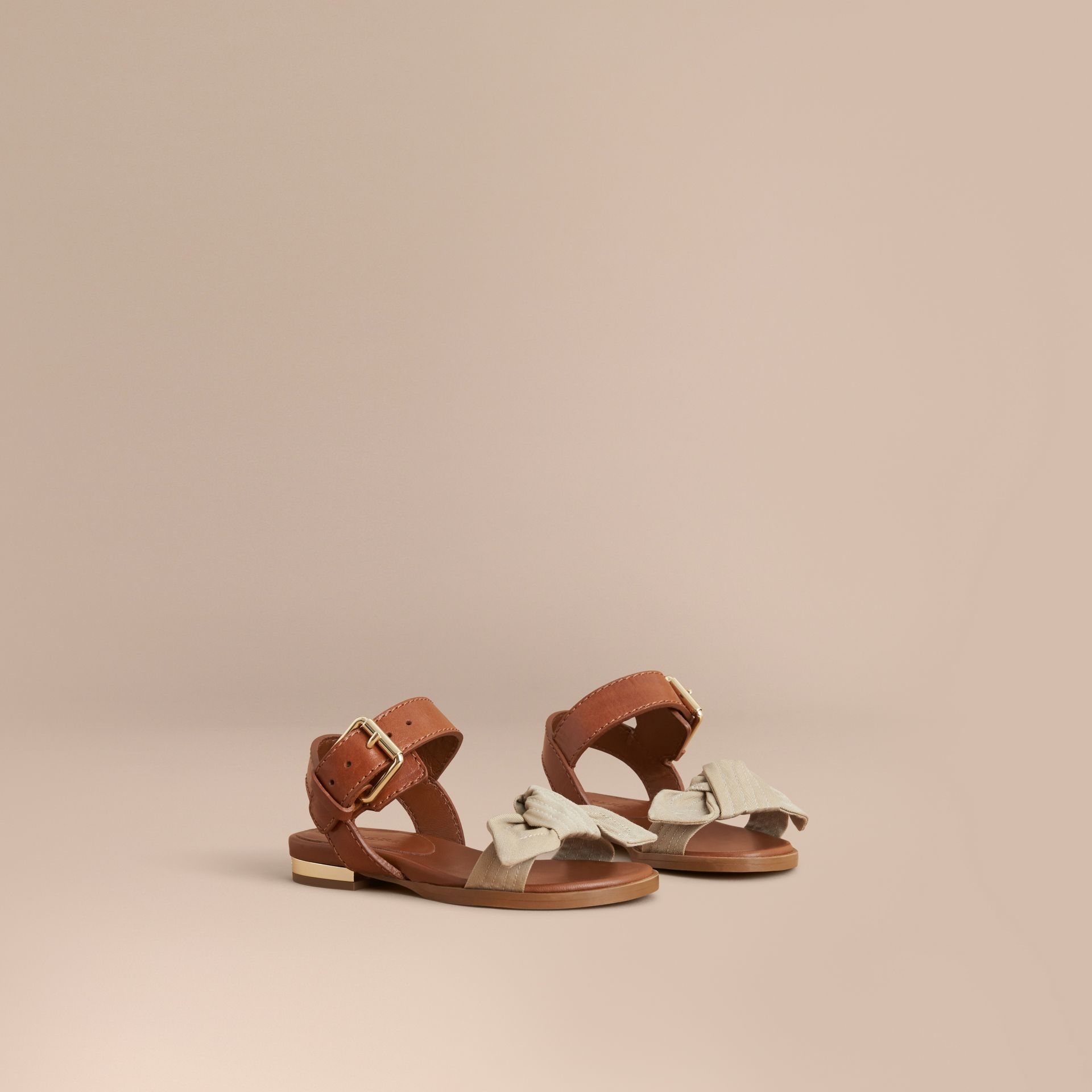 Cotton Gabardine Bow Detail and Leather Sandals - Children | Burberry - gallery image 1