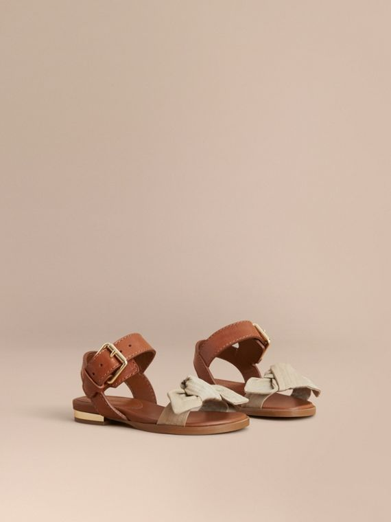 Cotton Gabardine Bow Detail and Leather Sandals in Honey