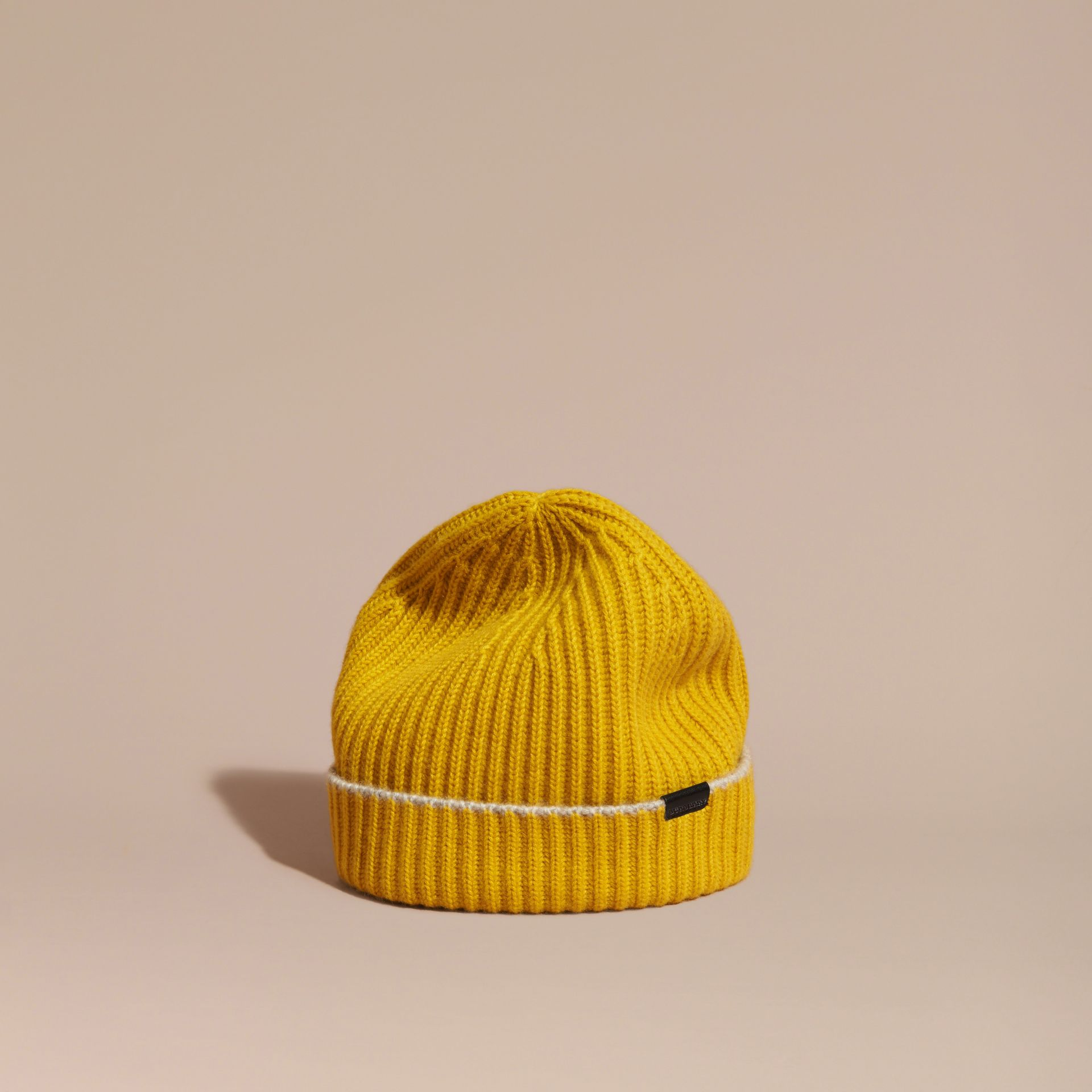 Ribbed Cashmere Beanie with Border Detail in Citrus Yellow/pale Grey - gallery image 1
