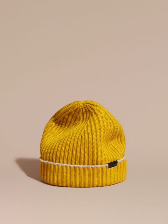 Ribbed Cashmere Beanie with Border Detail Citrus Yellow/pale Grey