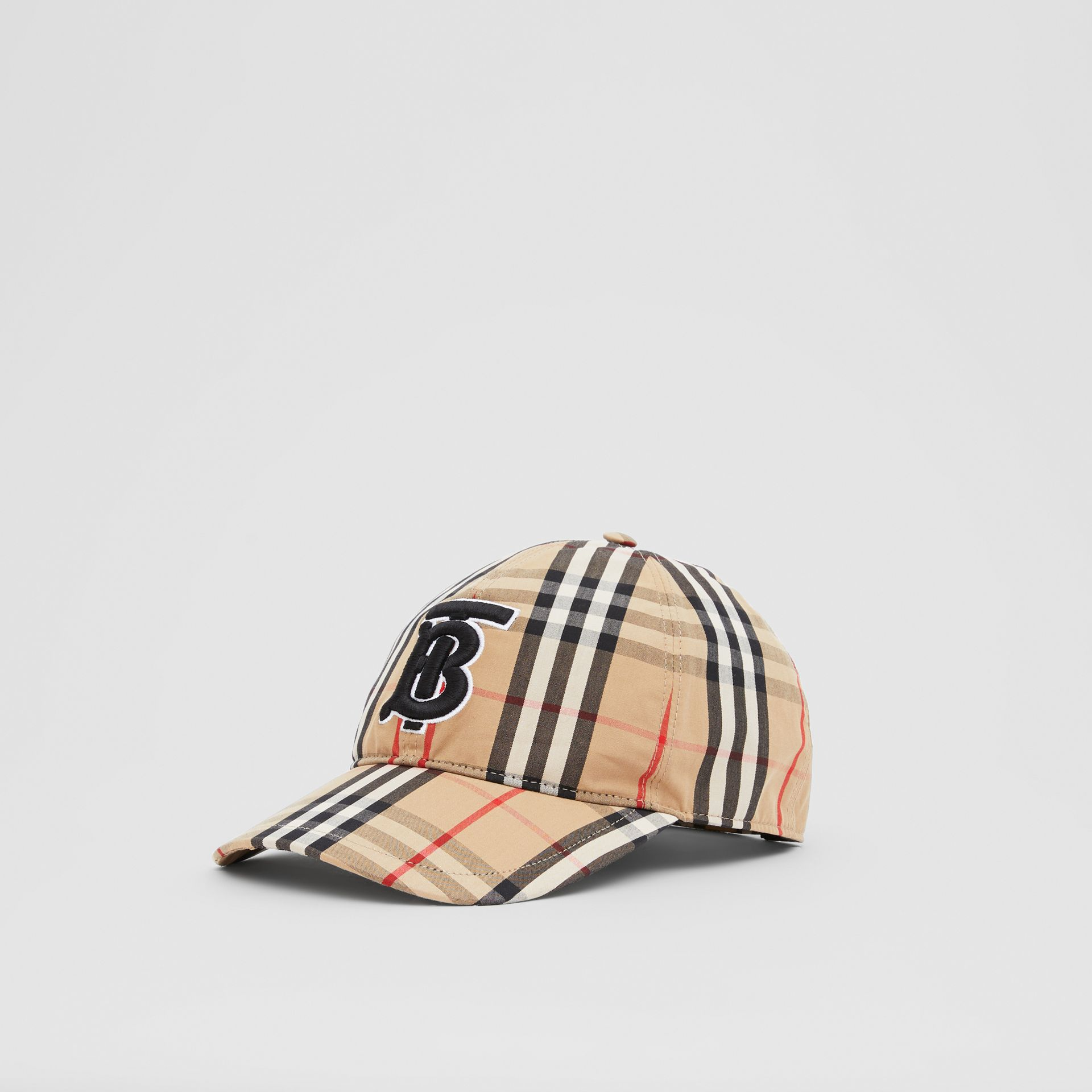 Monogram Motif Vintage Check Cotton Baseball Cap in Archive Beige | Burberry United Kingdom - gallery image 5