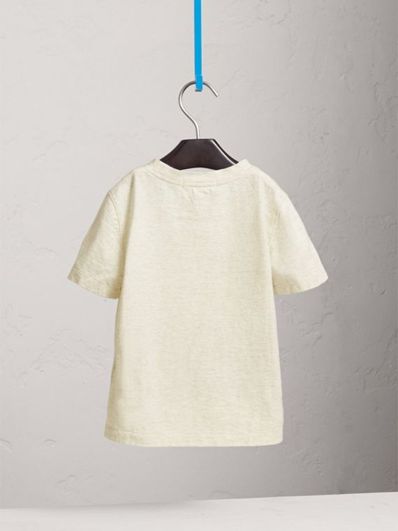 Meow Print Cotton T-shirt in Natural Melange - Girl | Burberry - cell image 3