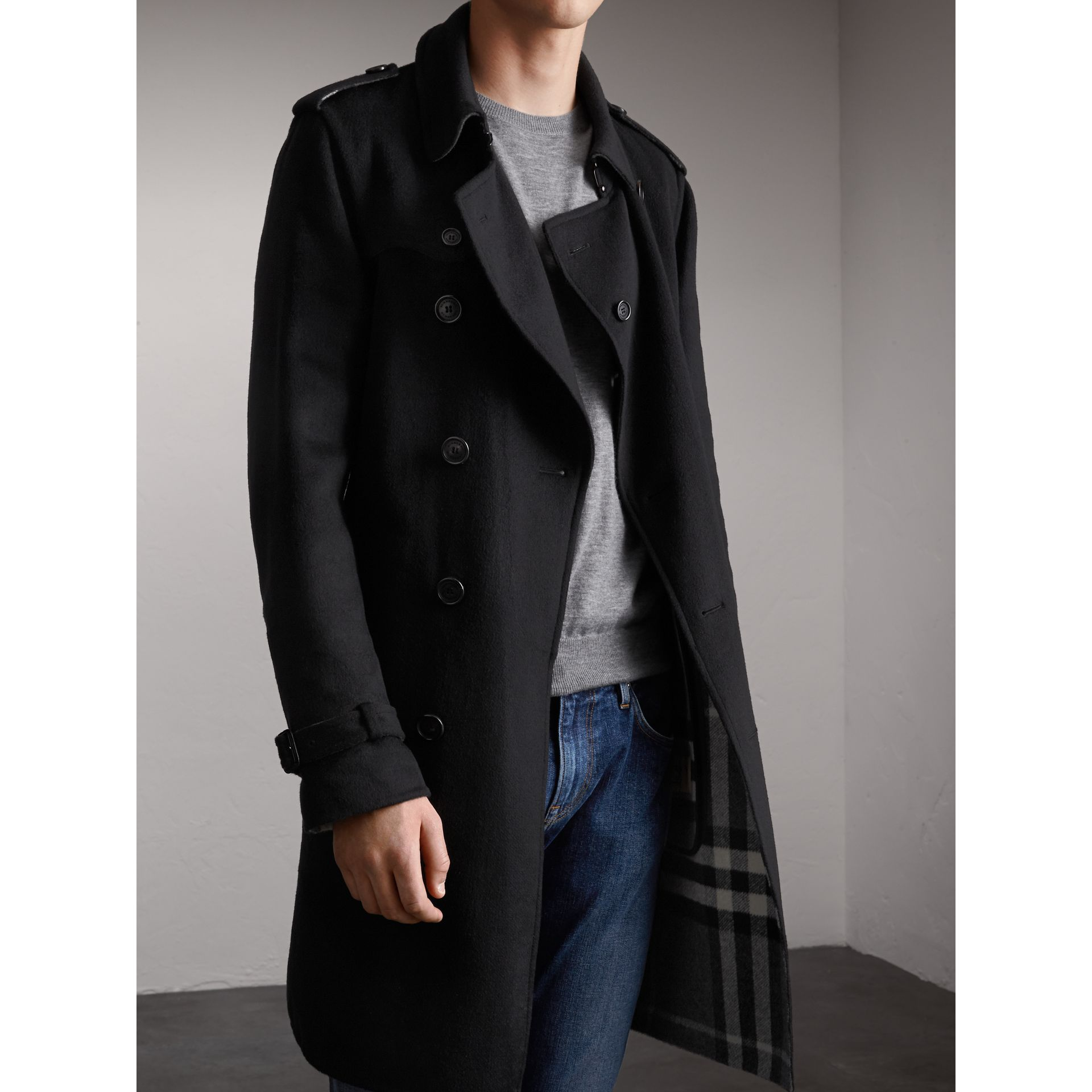Cashmere Wool Trench Coat in Black - Men | Burberry - gallery image 5