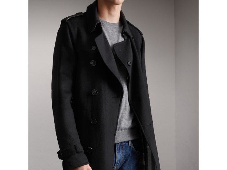 Cashmere Wool Trench Coat in Black - Men | Burberry Hong Kong - cell image 4