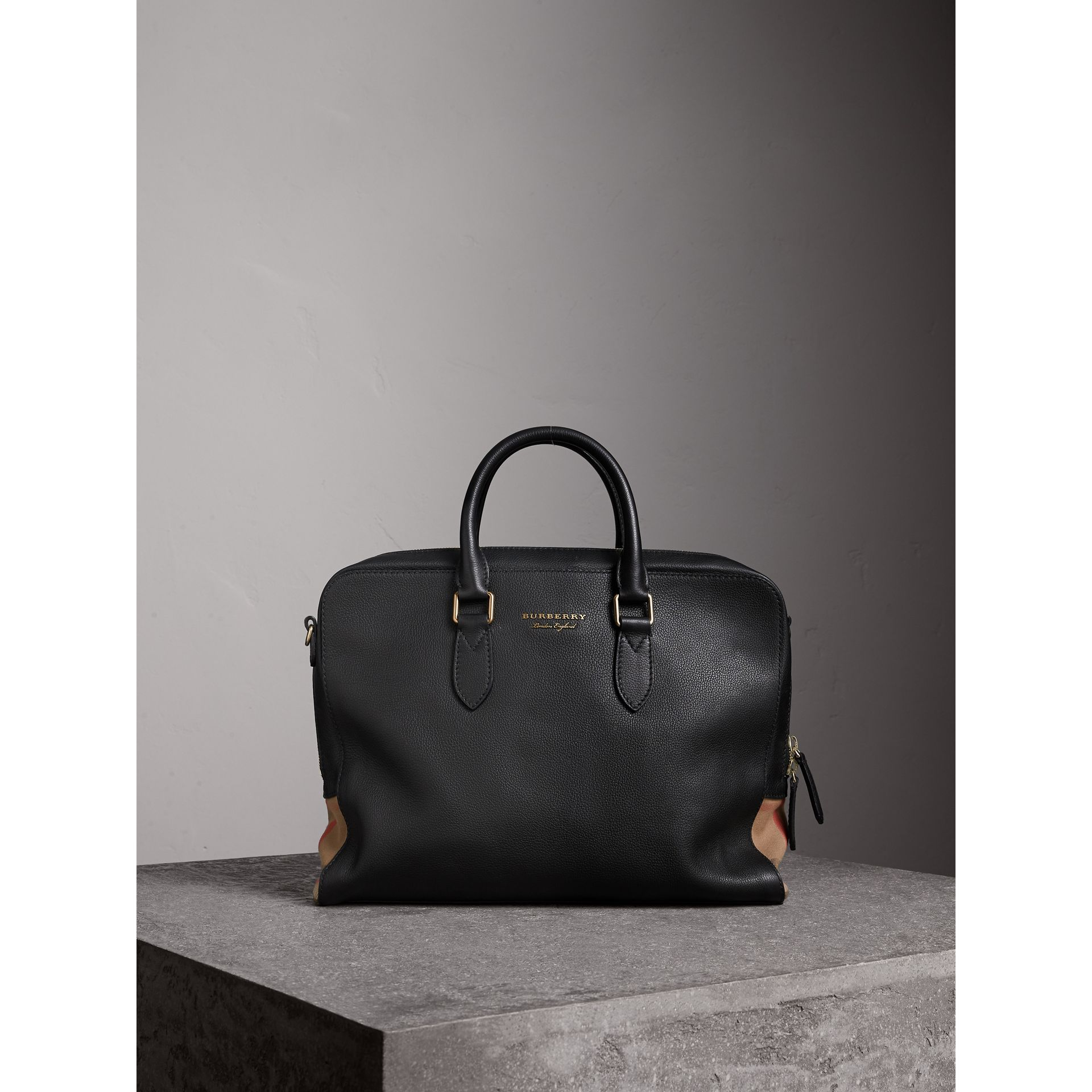 Leather and House Check Briefcase in Black - Men | Burberry - gallery image 7
