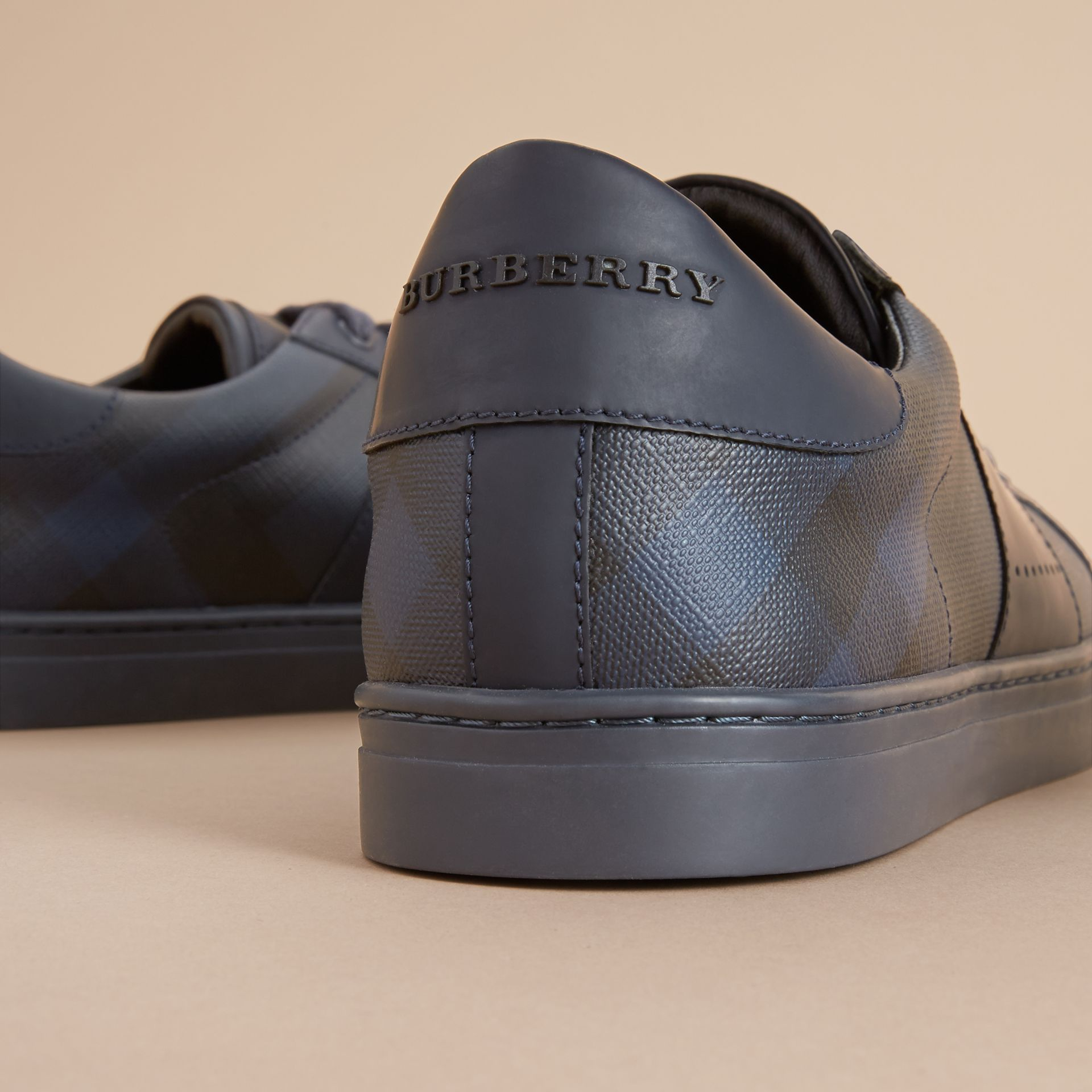 London Check and Leather Sneakers in Navy - Men | Burberry Australia - gallery image 1