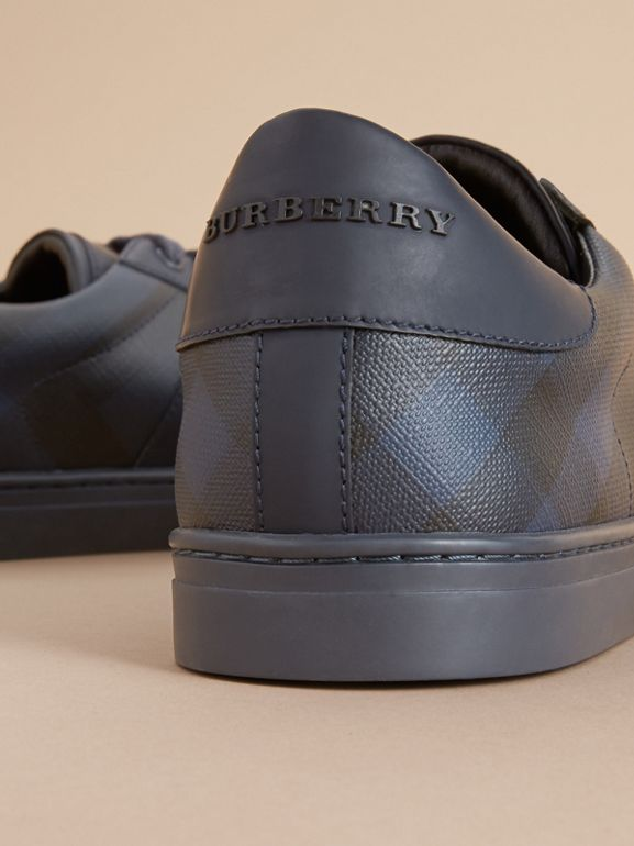 London Check and Leather Sneakers in Navy - Men | Burberry - cell image 1