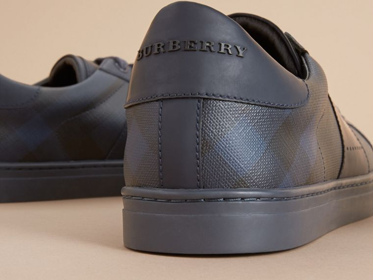 Check Detail Leather Trainers in Navy - Men | Burberry United Kingdom - cell image 1