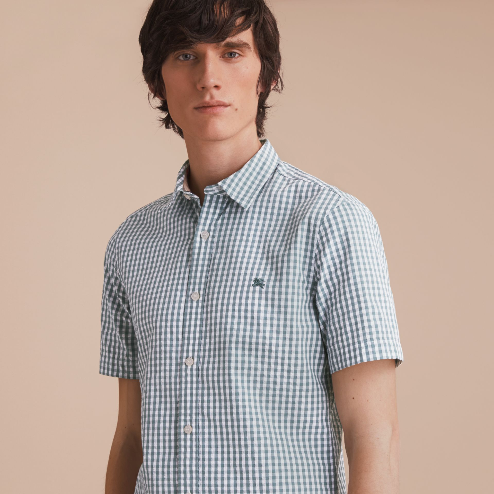Short-sleeved Gingham Cotton Poplin Shirt in Dusty Teal Blue - Men | Burberry - gallery image 5