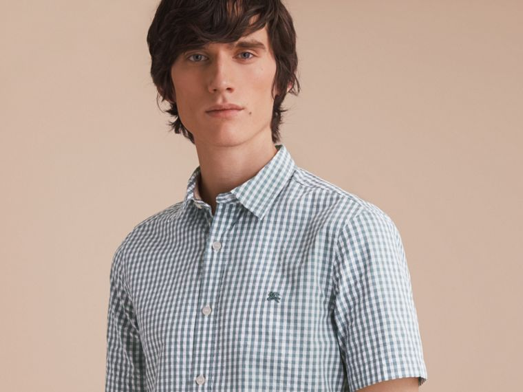 Short-sleeved Gingham Cotton Poplin Shirt in Dusty Teal Blue - Men | Burberry - cell image 4