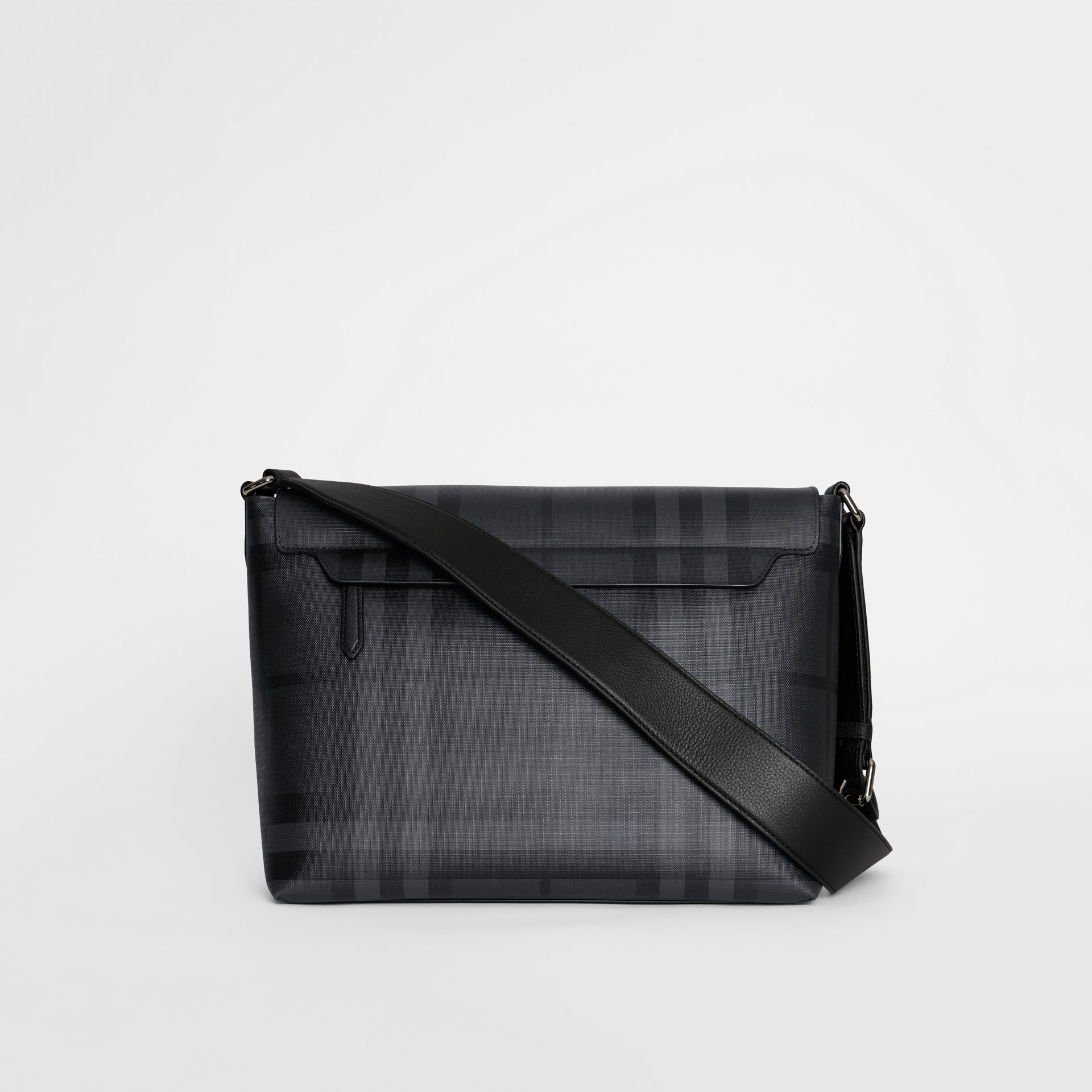 Large London Check Messenger Bag in Charcoal/black | Burberry - gallery image 7