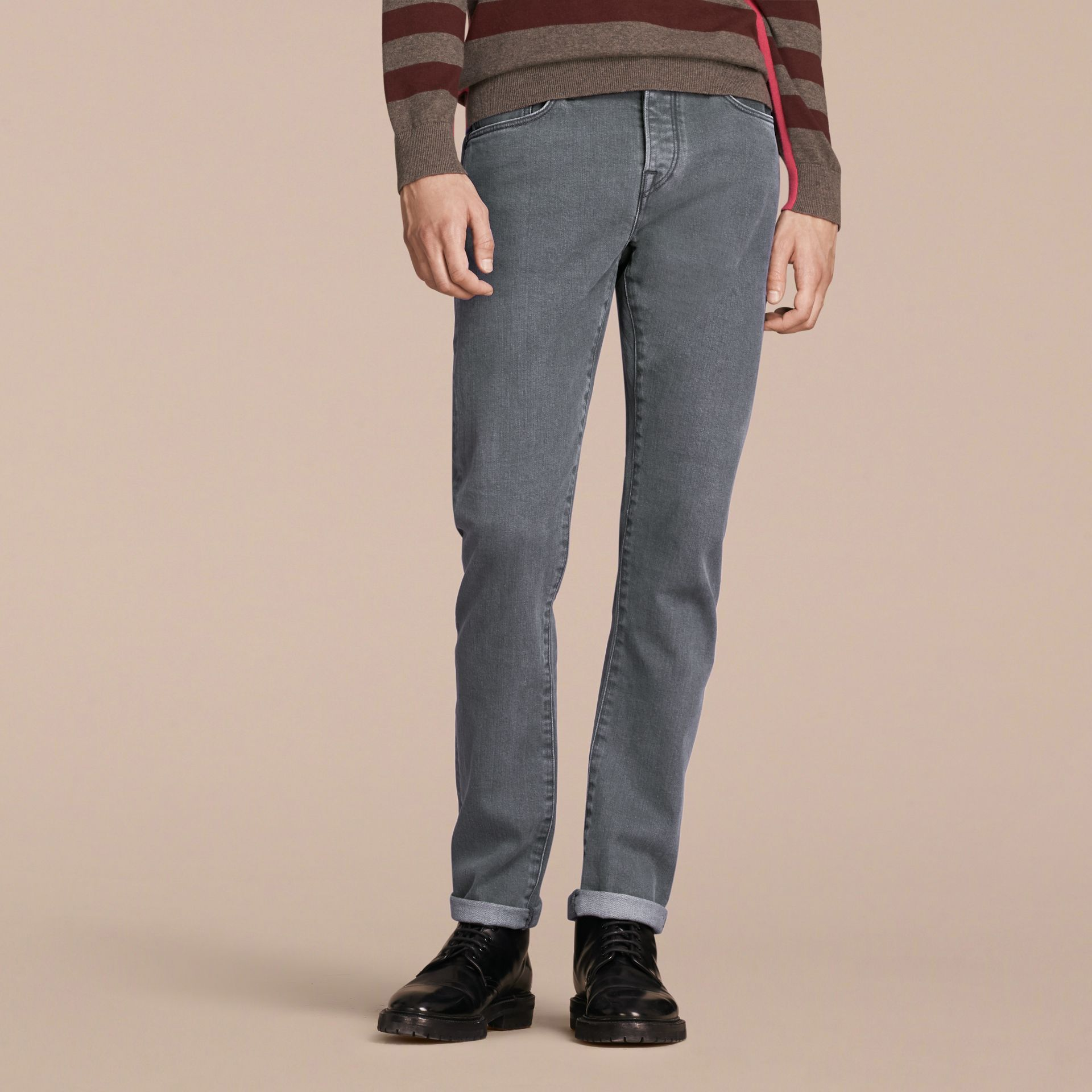 Jean de coupe droite en denim selvedge japonais - Homme | Burberry - photo de la galerie 7