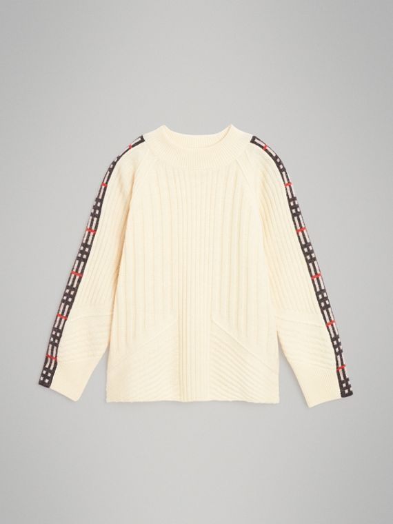 Check Detail Wool Cashmere Sweater in Ivory