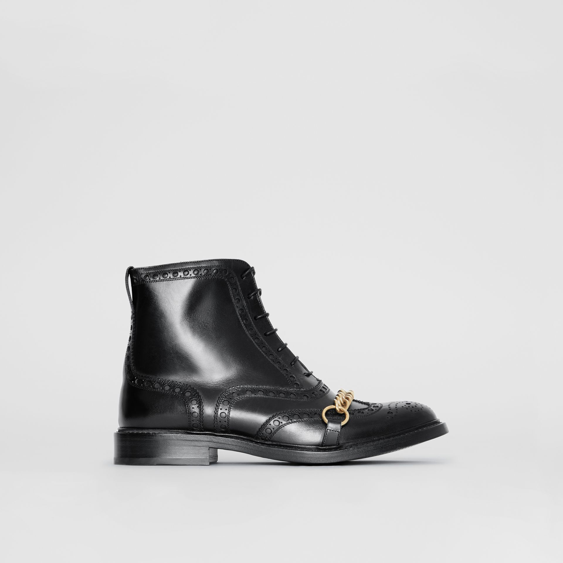 Link and Brogue Detail Leather Boots in Black - Women | Burberry - gallery image 4