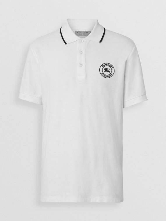 Embroidered Logo Cotton Piqué Polo Shirt in White bd30c8474dc