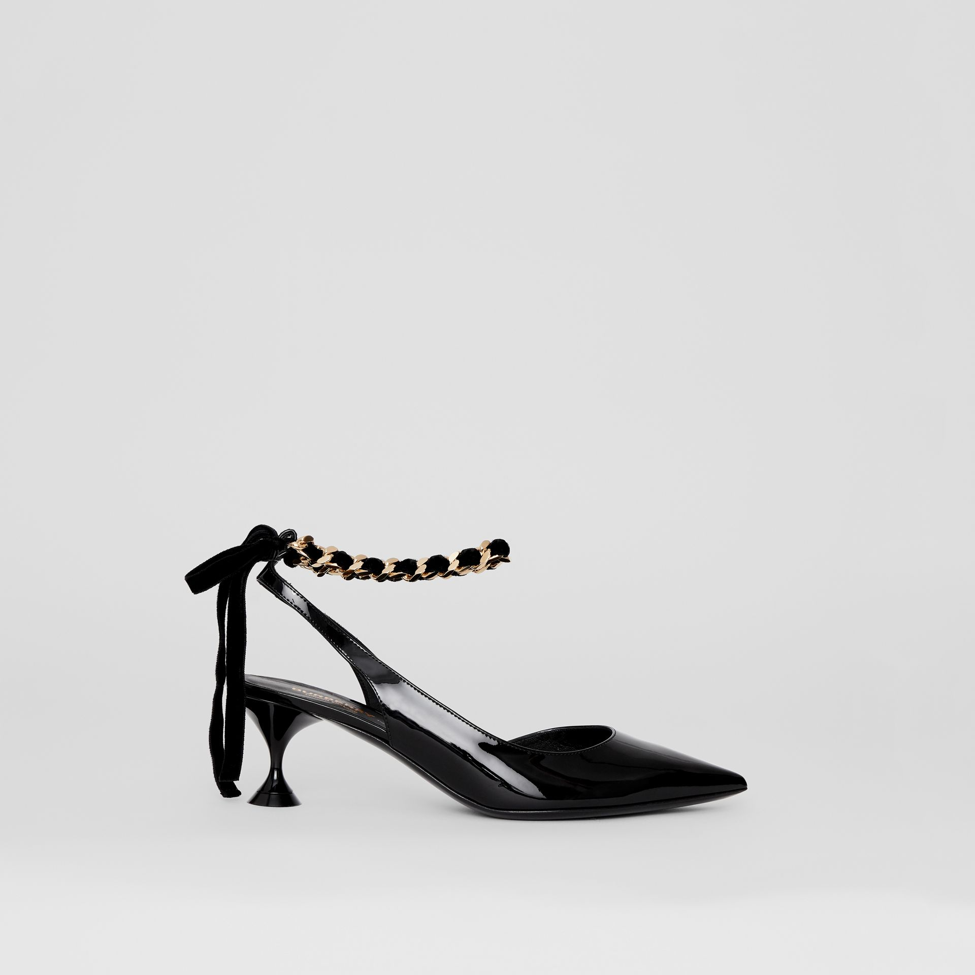 Chain Detail Leather Slingback Pumps in Black - Women | Burberry - gallery image 5