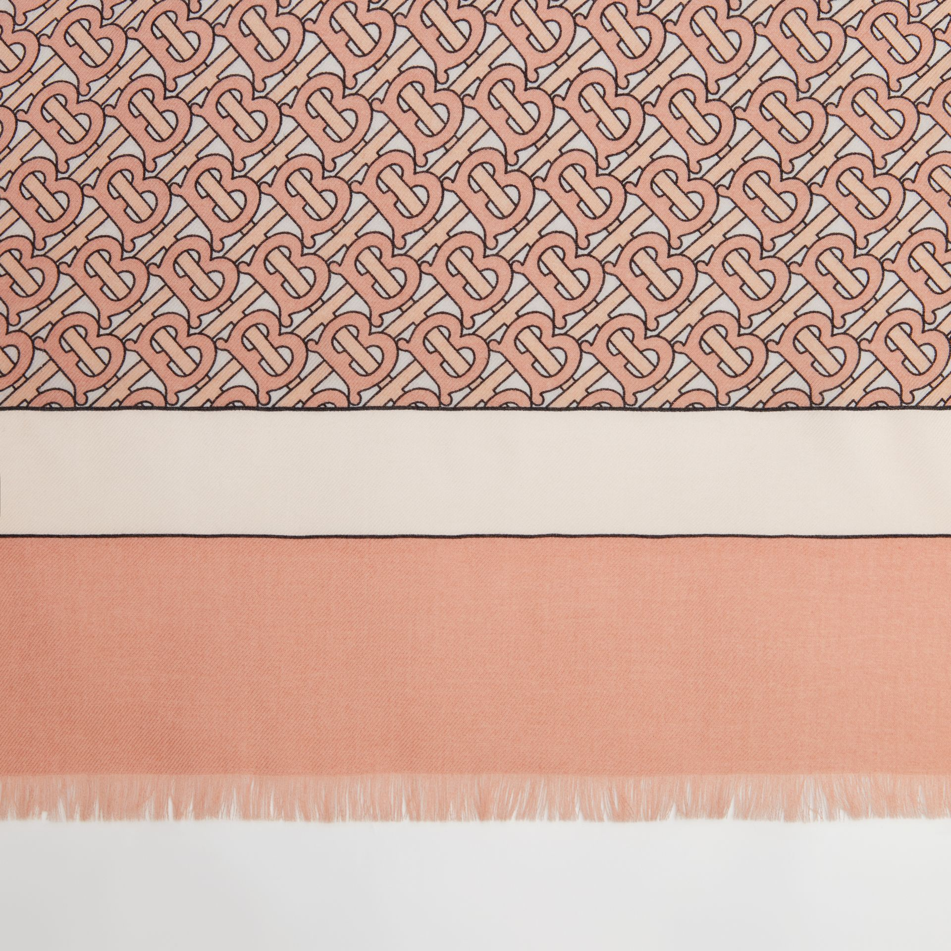 Monogram Print Lightweight Cashmere Scarf in Pale Copper Pink | Burberry - gallery image 1